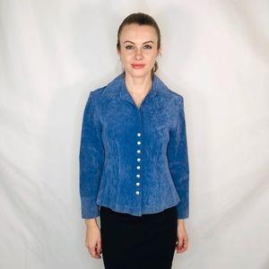 Vintage Blue Suede Jacket Live A Little Snap Front